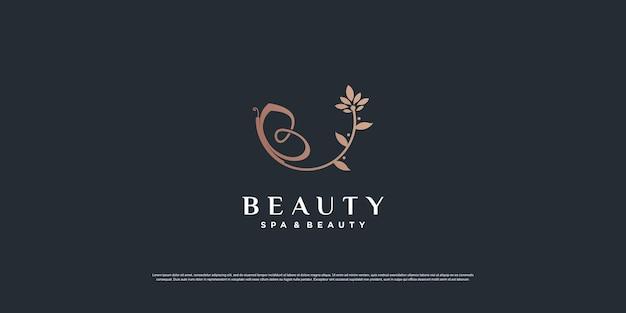 Ispirazione del logo di bellezza con il concetto di farfalla e foglia vettore premium