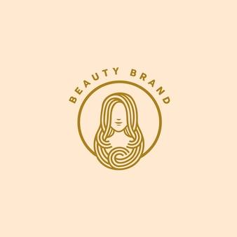 Modello di logo di bellezza monoline