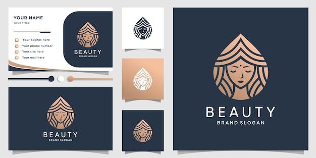 Logo di bellezza con il concetto di donna di bellezza e design biglietto da visita