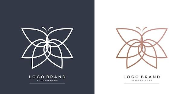 Logo di bellezza con il concetto di farfalla vettore premium parte 3
