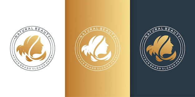 Logo di bellezza con sfumatura moderna