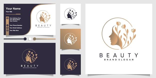 Logo di bellezza per donna con un concetto unico e modello di progettazione di biglietti da visita