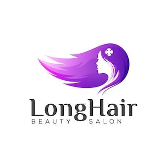 Logo di bellezza capelli lunghi, disegno di marchio gradiente parrucchiere donna