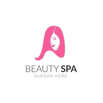 Logo di capelli lunghi di bellezza, logo sfumato di parrucchiere donna