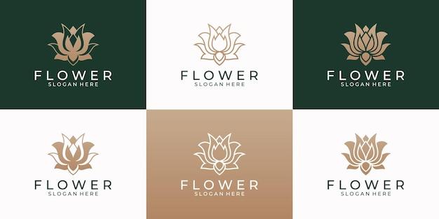 Modello di progettazione di logo del fiore di loto di bellezza.