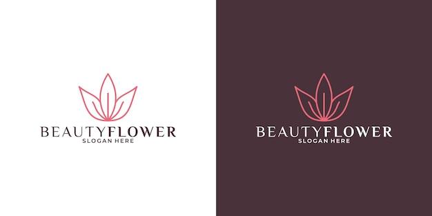 Design del logo del fiore di loto di bellezza per il tuo salone aziendale, spa, resort, cosmetici, moda ecc