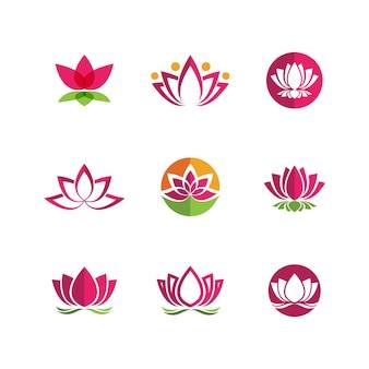 Modello di progettazione dell'icona di vettore del fiore di loto di bellezza