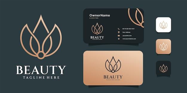 Vettore di logo di loto di bellezza con modello di biglietto da visita.