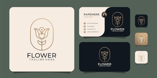 Elementi di design del logo del fiore di rosa di loto di bellezza per cosmetici naturali della spa nature