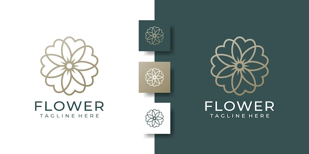 Modello di logo floreale di bellezza di lusso minimalista fiore eleganza
