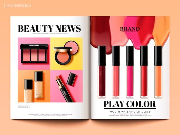 Design di riviste di bellezza, novità sui prodotti di make up colorati e alla moda in illustrazione 3d, modello di brochure di riviste o cataloghi