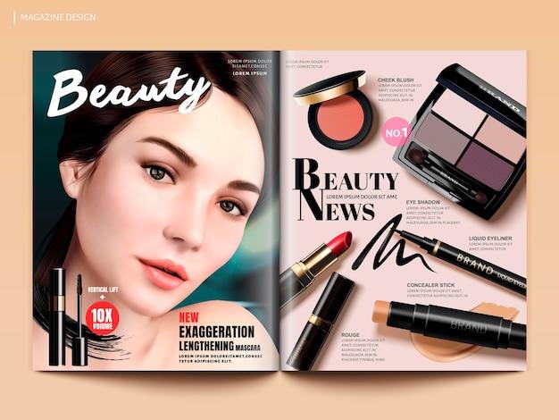 Design di riviste di bellezza, set di prodotti per il trucco con affascinante ritratto di modello in illustrazione 3d, modello di brochure di riviste o cataloghi