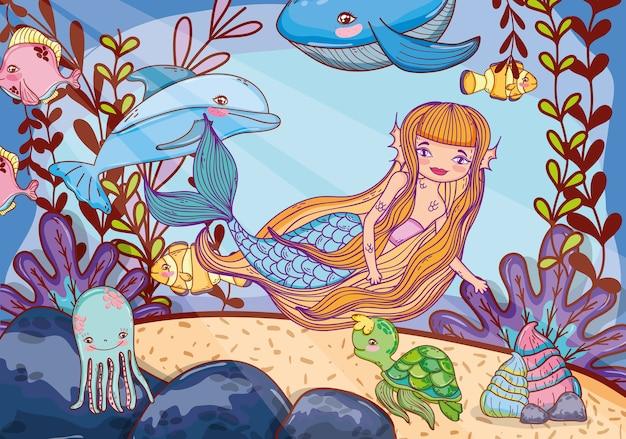 Sirena di bellezza con piante animali e tropicali