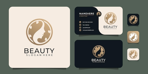 Elementi di logo di bellezza minimal lusso donna capelli spa per la moda e lo stile di vita Vettore Premium