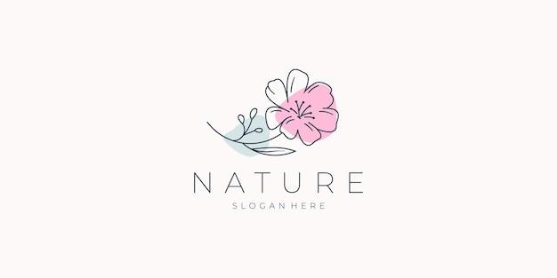 Logo fiore minimalista di bellezza.