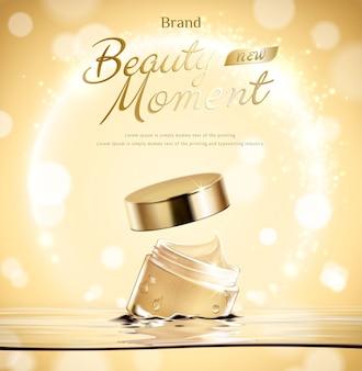 Il barattolo di crema di momento di bellezza galleggia in acqua su fondo scintillante dorato nell'illustrazione 3d