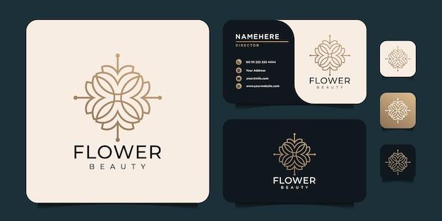 Design del logo del fiore del monogramma di bellezza per il salone di yoga della decorazione della spa
