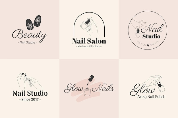 Illustrazione del modello del logo del salone di bellezza per unghie