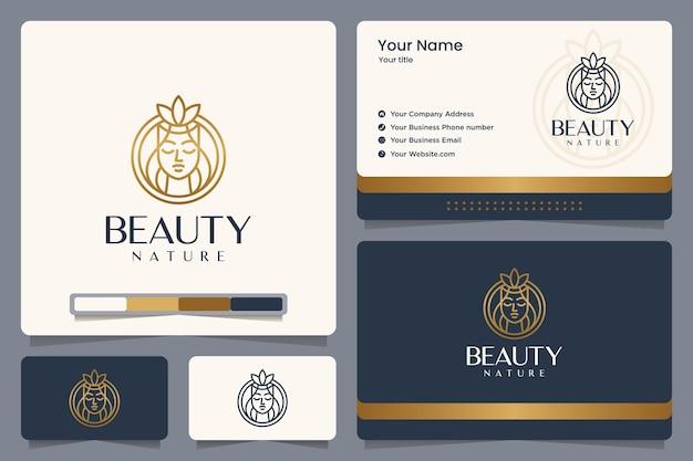 Natura di bellezza, colore oro, ragazza, line art, design del logo e biglietto da visita