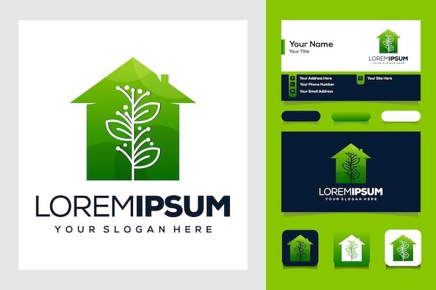 Bellezza natura foglia e casa logo design e biglietto da visita