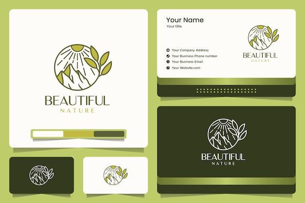 Natura di bellezza, montagna, foglie, design del logo e biglietto da visita