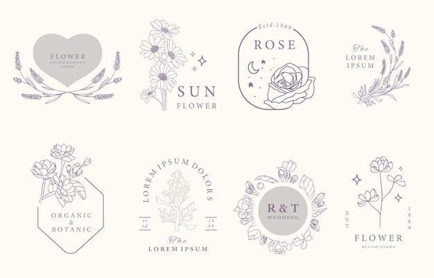 Collezione di design occulto di bellezza con lavanda, gelsomino, rosa.