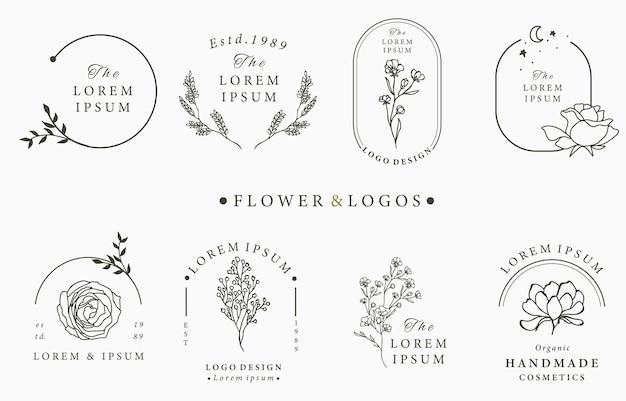 Collezione di logo occulto di bellezza con motivi geometrici, rosa, luna, stelle, fiori.