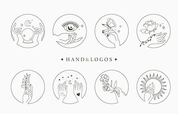 Collezione di logo occulto di bellezza con mano, geometrica, cristallo, luna, occhio, stella. illustrazione per icona, logo, adesivo, stampabile e tatuaggio