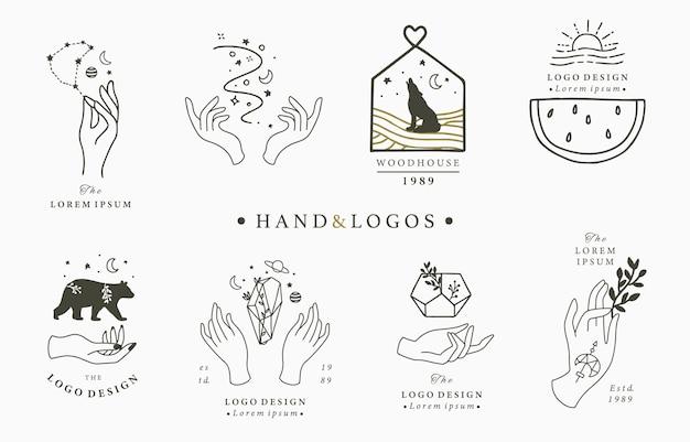 Collezione di logo occulto di bellezza con elementi magici