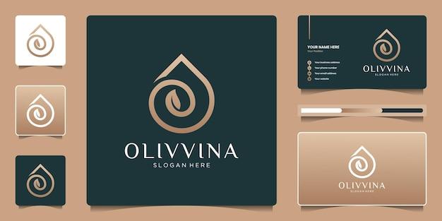 Design del logo di olio d'oliva o goccioline di bellezza. logo elegante di lusso per un marchio moderno.