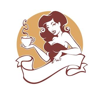 Donna pinup di bellezza con una tazza di tè o caffè, logo per ristorante, caffetteria o azienda di tè