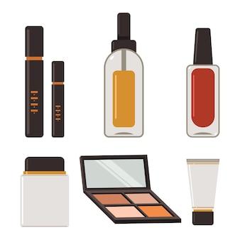 Set piatto di prodotti di bellezza e cosmetici isolato su uno sfondo bianco