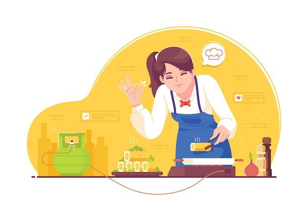 Chef professionista di bellezza che cucina l'illustrazione di concetto del piatto