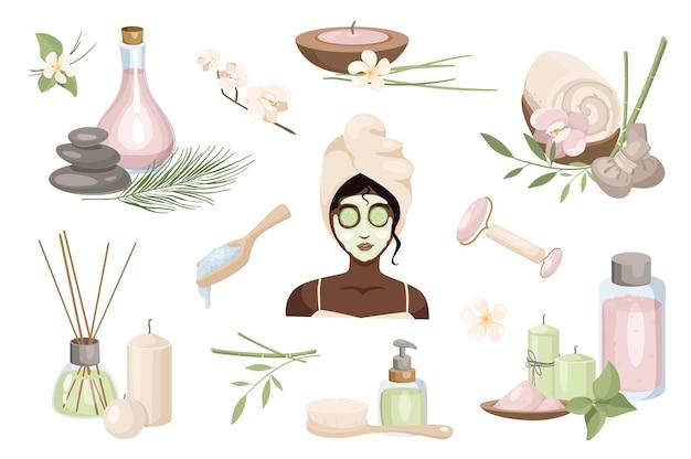 Routine di bellezza e set di elementi di design per la cura della pelle. collezione di donna in maschera cosmetica presso spa, aromaterapia, massaggiatore a rulli, candela, fiore. oggetti isolati di illustrazione vettoriale in stile cartone animato piatto