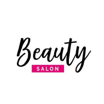 Iscrizione del salone di bellezza con elemento rosa