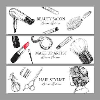 Set di banner orizzontali di salone di bellezza e make up artist