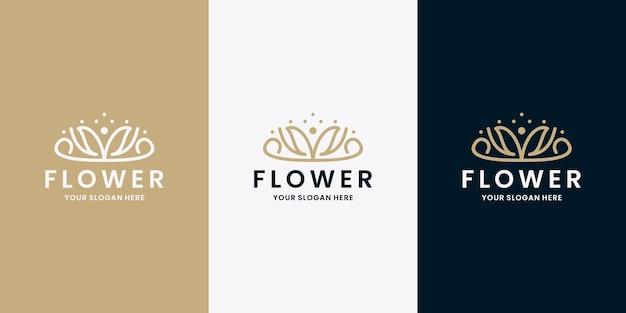 Salone di bellezza e spa logo design fiore monogramma linea arte vettoriale