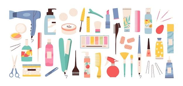 Strumenti per saloni di bellezza. attrezzature per parrucchieri, manicure e trucco. asciugacapelli, forbici, pettine e flaconi di crema. insieme di vettore dei cosmetici dello stilista. illustrazione strumenti per parrucchieri forbici e asciugacapelli