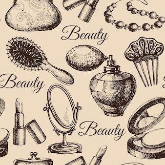 Modello senza cuciture di bellezza. accessori cosmetici. illustrazioni vettoriali di schizzo disegnato a mano vintage