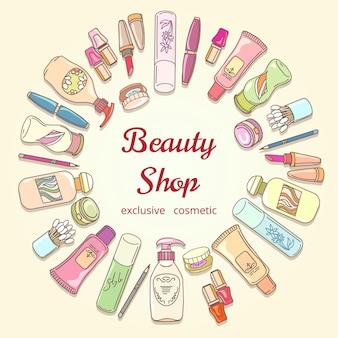 Struttura di vettore di doodle etichetta cosmetica negozio di bellezza. rossetto e shampoo, polvere e mascara, bottiglia di lozione e icone di crema. cosmetici disegnati a mano per poster di salone di bellezza