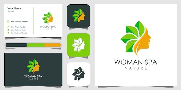 Design del logo di bellezza della cura della pelle. concetto di logo terapia termale. logo design e progettazione di biglietti da visita