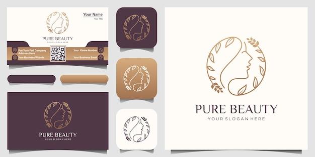 Modello di disegni di logo di cura della pelle di bellezza. cerchio volto di donna combinato con foglia o fiore
