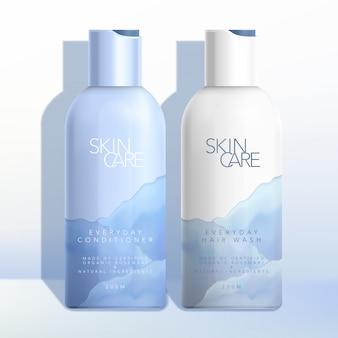 Bottiglia di bellezza, cura della pelle, cosmetici, assistenza sanitaria o cura dei capelli con disegno acquerello mare / oceano / natura