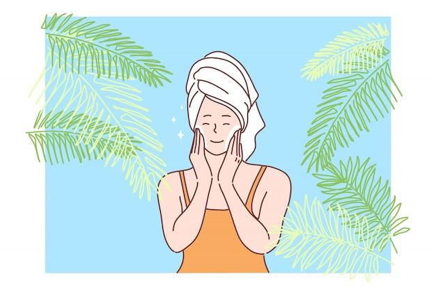 Bellezza, cura della pelle, assistenza sanitaria, trucco, annuncio, concetto di cosmetici
