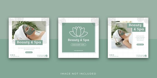 Modello di post instagram di social media per centro benessere e bellezza