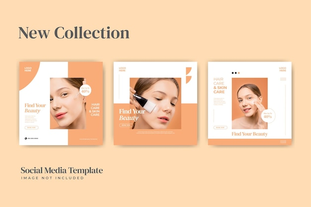 Beauty spa e concetto di cura dei cosmetici per il modello di post sui social media