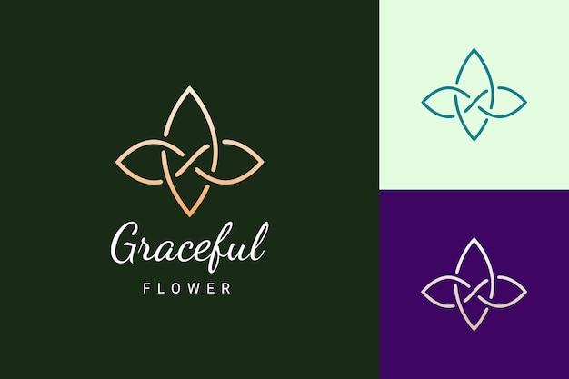 Logo di bellezza o spa a forma di fiore semplice e di lusso