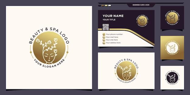 Logo di bellezza e spa per donna con concetto di spazio negativo e design di biglietti da visita vettore premium
