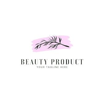 Logo cosmetico naturale della spa di bellezza con logo icona foglia ramo rustico