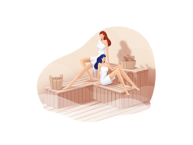 Serie beauty and spa: illustrazione di procedure a vapore sauna
